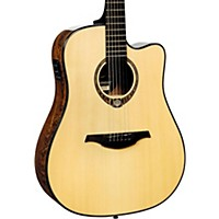 Lag Guitars Tramontane Limited Edition Tse701dce Snakewood Dreadnought Cutaway Acoustic-Electric Guitar Natural Snake Wood