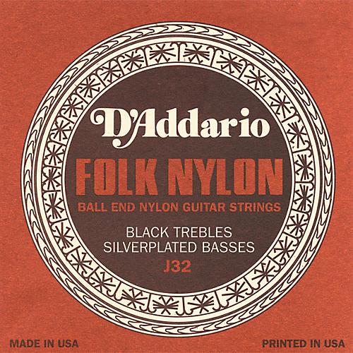 D'Addario J32 Folk Nylon Silver/Black Acoustic Guitar Strings