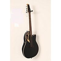 Used Ovation 1868Tx Elite Spalted Maple Acoustic-Electric Guitar Gloss Black 888365964201