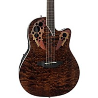 Ovation Ce48p Celebrity Elite Plus Acoustic-Electric Guitar Transparent Tiger Eye