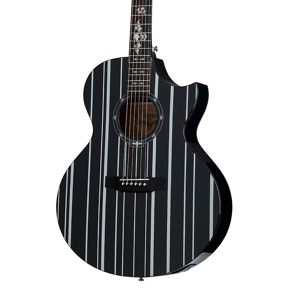 schecter synyster gates 3700 acoustic elec guitar gloss black silver pinstripes 815447021712 ebay. Black Bedroom Furniture Sets. Home Design Ideas