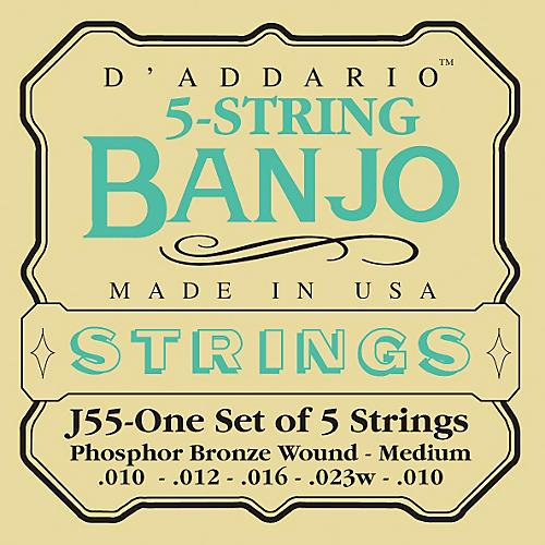 D'Addario J55 Phosphor Bronze Medium Banjo Strings