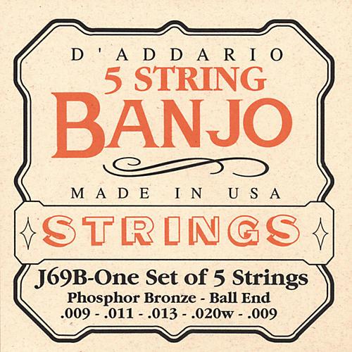 D'Addario J69B 5-String Banjo PB Light Ball Strings