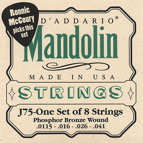 D'Addario J75 Medium/Heavy Phosphor Bronze Wound Bluegrass Mandolin Strings
