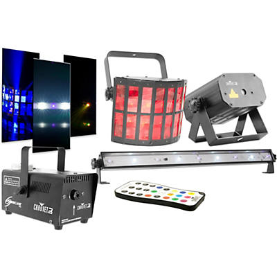 CHAUVET DJ JAM Pack Gold Projection Lighting Effect with Fog Machine and UV Wash/Strobe