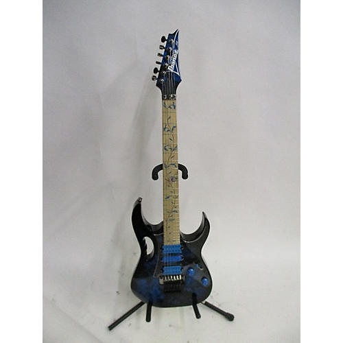 Ibanez JEM77P Steve Vai Signature Solid Body Electric Guitar black and blue floral