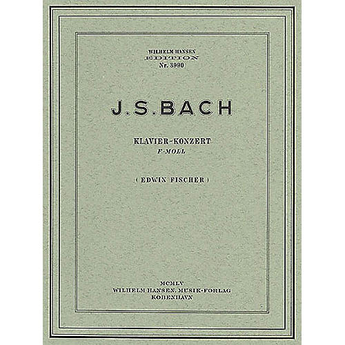 Music Sales JS Bach: Piano Concerto In F Minor (Two Pianos) Music Sales America Series