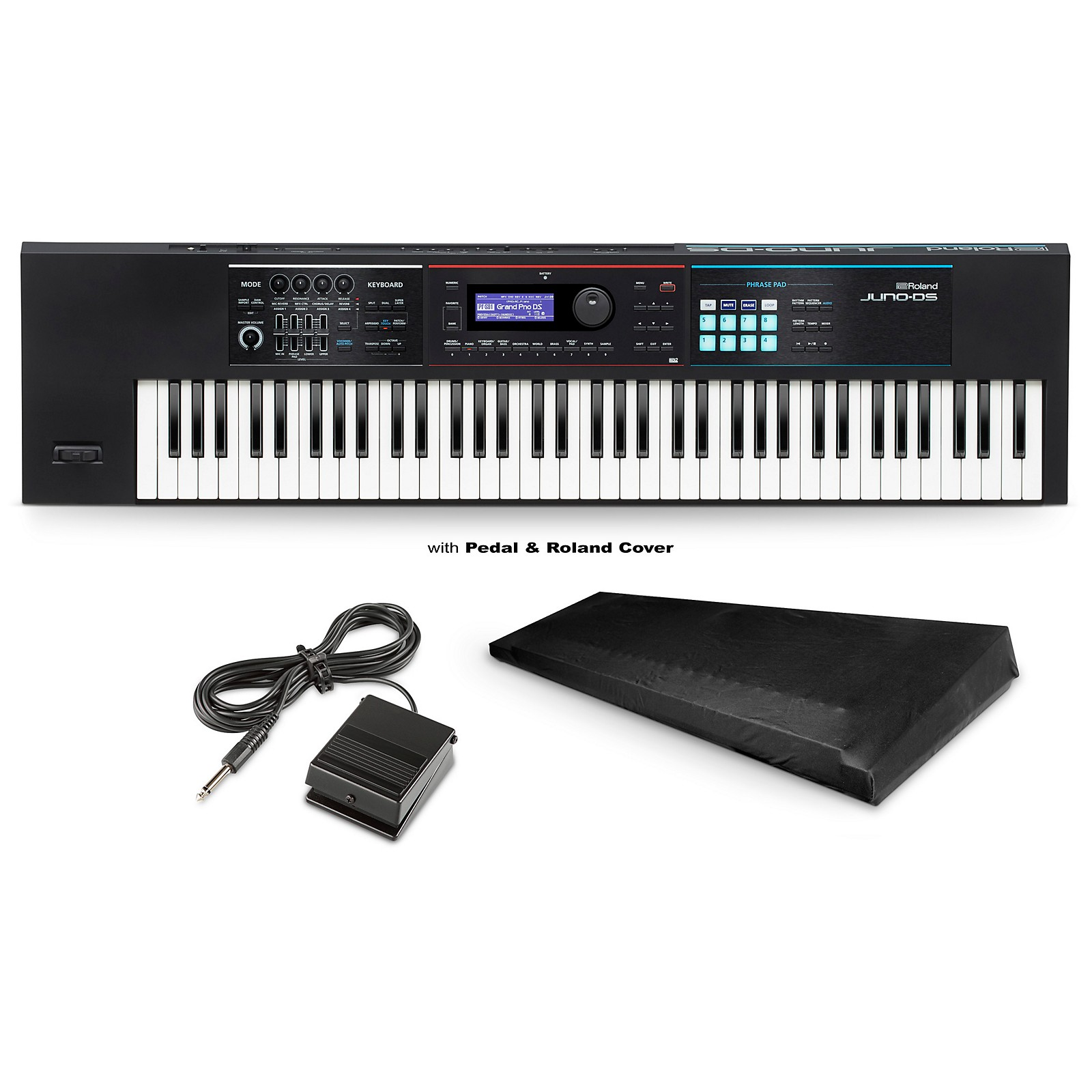 Roland JUNO-DS76 Synthesizer With DP-2 Pedal and Medium Dust Cover