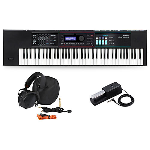 Roland JUNO-DS76 Synthesizer with DP-10 Pedal and V-Moda M-100 Headphones