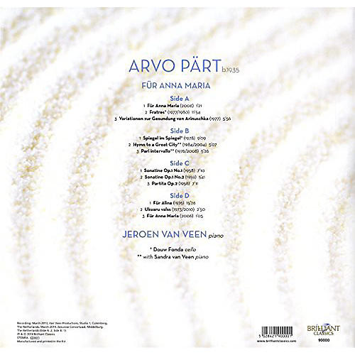 Alliance Jeroen van Veen - Arvo P-RT: Fur Anna Maria Complete Piano Music