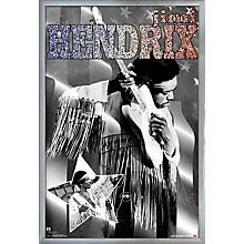 Jimi Hendrix - Stars And Stripes Poster Framed Silver