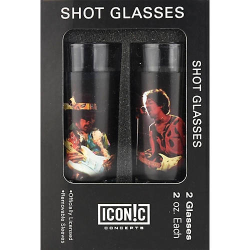 Iconic Concepts Jimi Hendrix 2 Piece Shot Glass Set Silhouettes Color Aluminum Sleeves