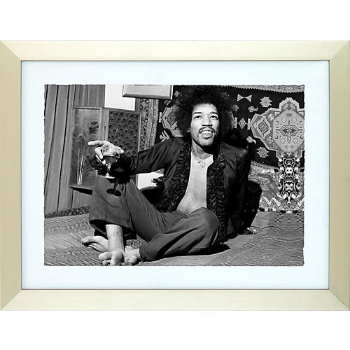 Mirrorpix Jimi Hendrix Black and White Framed Print