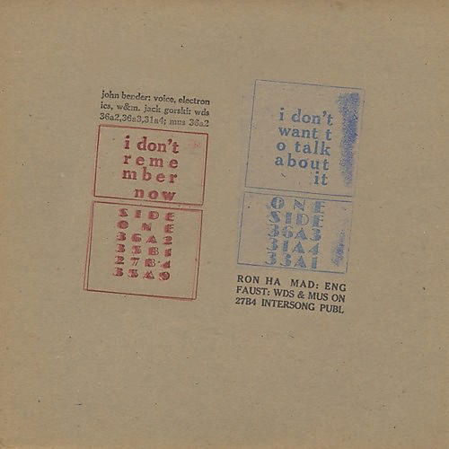 Alliance John Bender - I Don't Remember Now / I Don't Want to Talk About