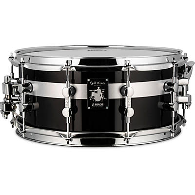 SONOR Jost Nickel Beech Snare Drum, Gloss Black with Stripe, 14 x 6.5 in.