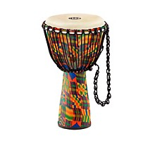 Journey Series Rope Tuned Fiberglass Goatskin Head Djembe Kenyan Quilt 10 in.