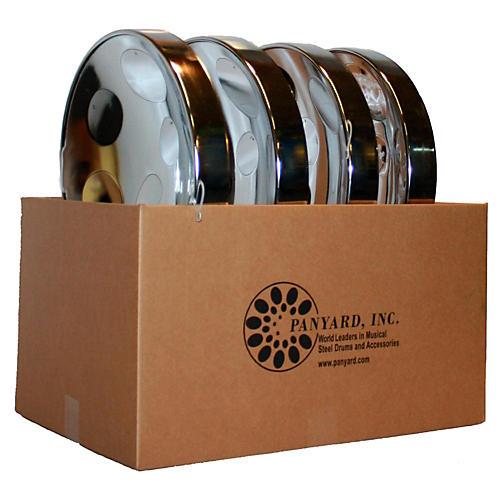 Panyard Jumbie Jam Educator's Steel Drum 4-Pack with Floor Stands Chrome