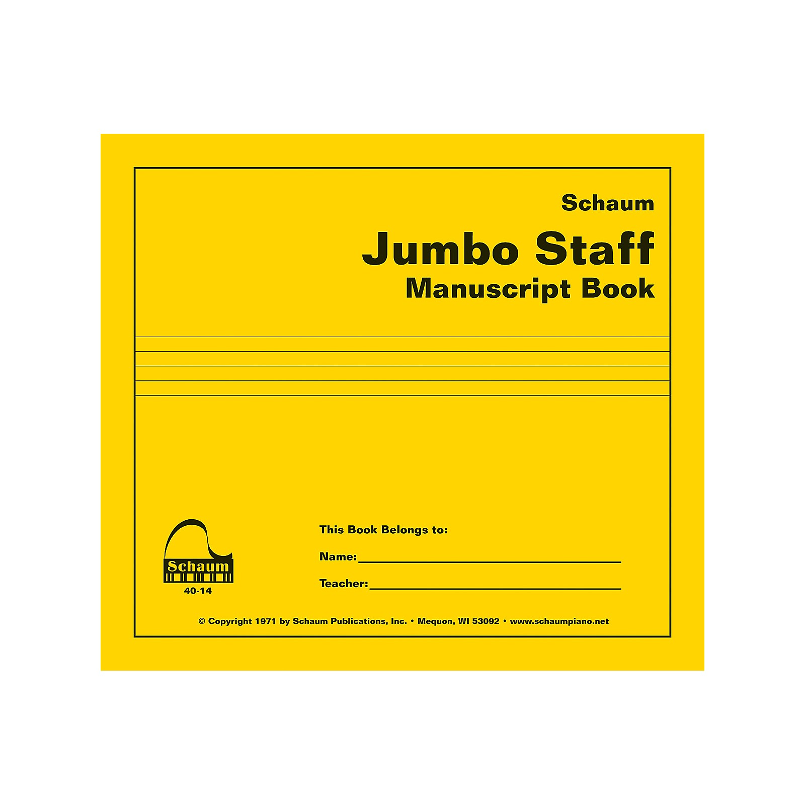 SCHAUM Jumbo Staff Manuscript Book Educational Piano Series Softcover