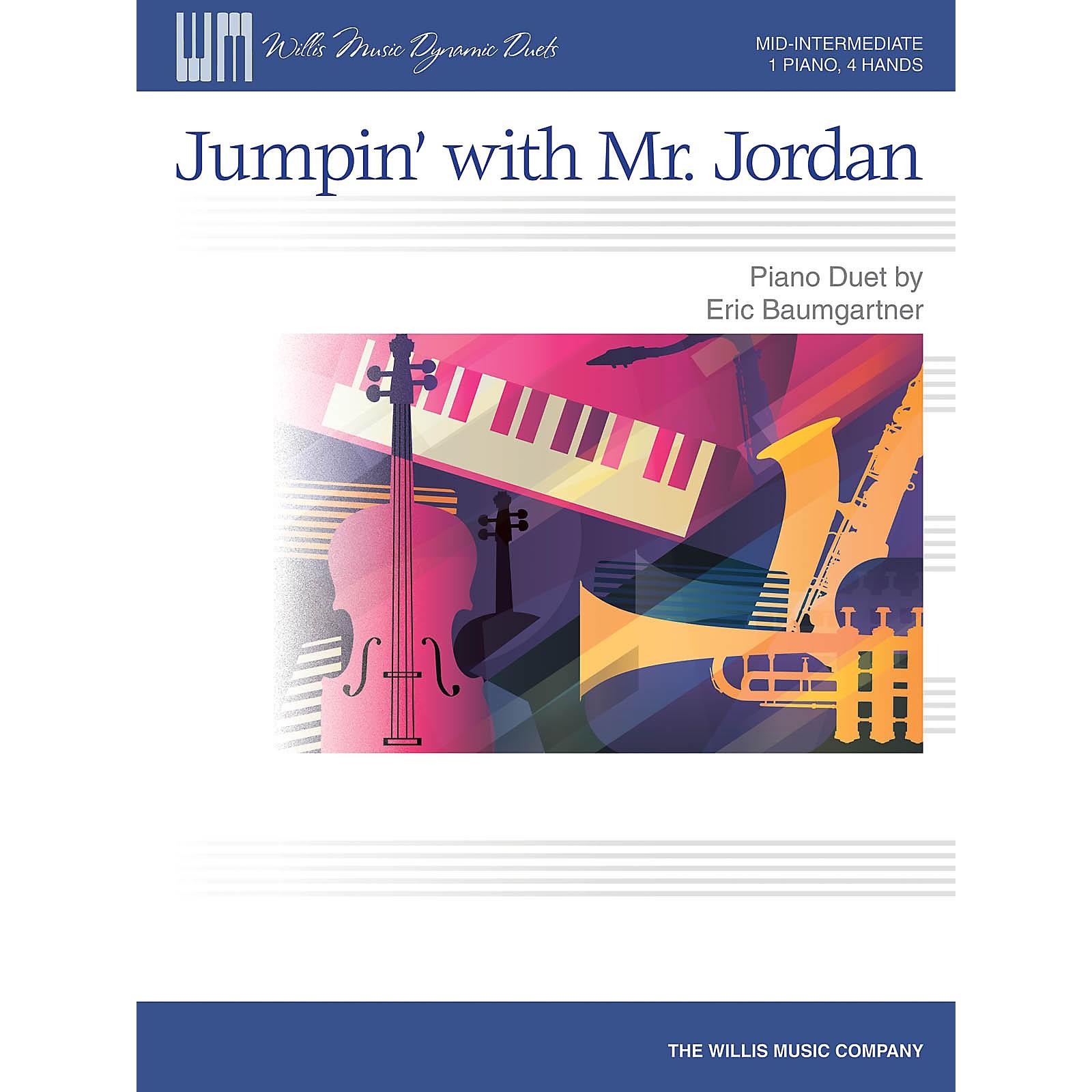 Willis Music Jumpin' with Mr. Jordan - Mid-Intermediate Level Piano Duet - 1 Piano, 4 Hands by Eric Baumgartner