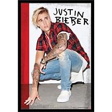 Justin Bieber - Flannel Poster Framed Black