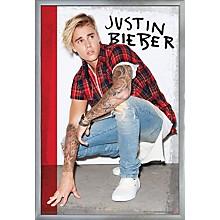 Justin Bieber - Flannel Poster Framed Silver