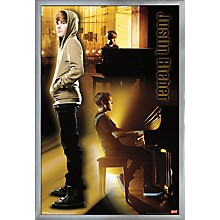 Justin Bieber - Piano Poster Framed Silver
