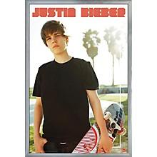 Justin Bieber - Skateboard Poster Framed Silver