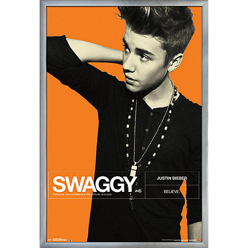 Trends International Justin Bieber - Swaggy Poster Framed Silver