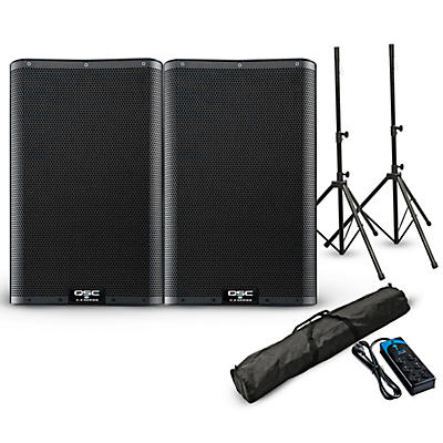 """QSC K12.2 12""""  Powered Speaker Pair with Stands and Power Strip"""