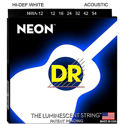 DR Strings K3 NEON Hi-Def White Acoustic Medium Guitar Strings