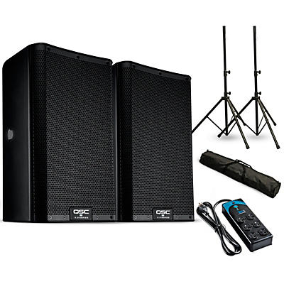 """QSC K8.2 8"""" Powered Speaker Pair with Stands and Power Strip"""