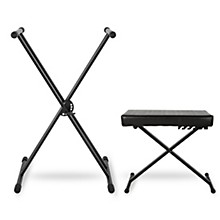 Musician's Gear KBX2 Double-Braced Keyboard Stand and Deluxe Keyboard Bench