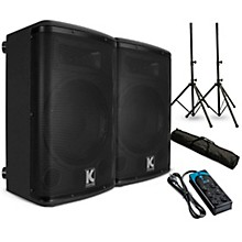 "Kustom PA KPX10A 10"" Powered Loudpeaker Pair with Stands and Power Strip"