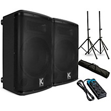 "Kustom PA KPX12A 12"" Powered Loudpeaker Pair with Stands and Power Strip"