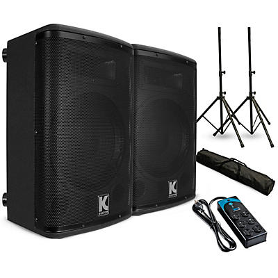 """Kustom PA KPX12A 12"""" Powered Loudpeaker Pair with Stands and Power Strip"""