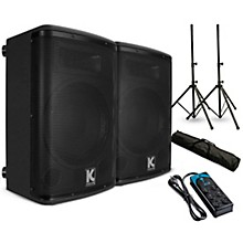 "Kustom PA KPX15A 15"" Powered Speaker Pair with Stands and Power Strip"