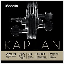 Kaplan Golden Spiral Solo Series Violin E String 4/4 Size Solid Steel Heavy Ball End