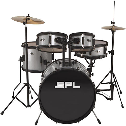 Sound Percussion Labs Kicker Pro  5-Piece Drum Set with Stands, Cymbals and Throne Silver Metallic Glitter