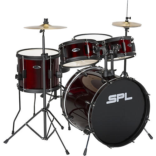 sound percussion labs kicker pro 5 piece drum set with stands cymbals and throne wine red. Black Bedroom Furniture Sets. Home Design Ideas