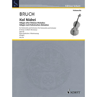 Hal Leonard Kol Nidrei: Adagio After Hebrew Melodies Cello/piano Reduction, D-min, Op. 47 String Series Softcover