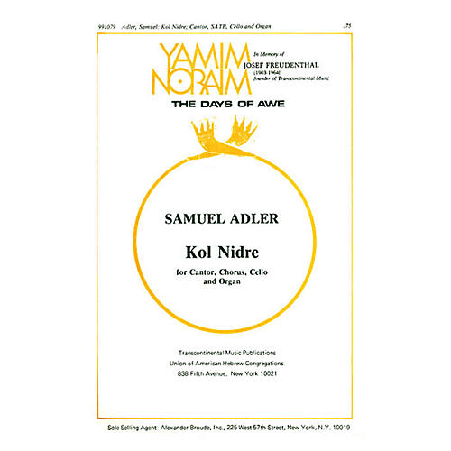 Transcontinental Music Kol Nidrei SATB arranged by Samuel Adler