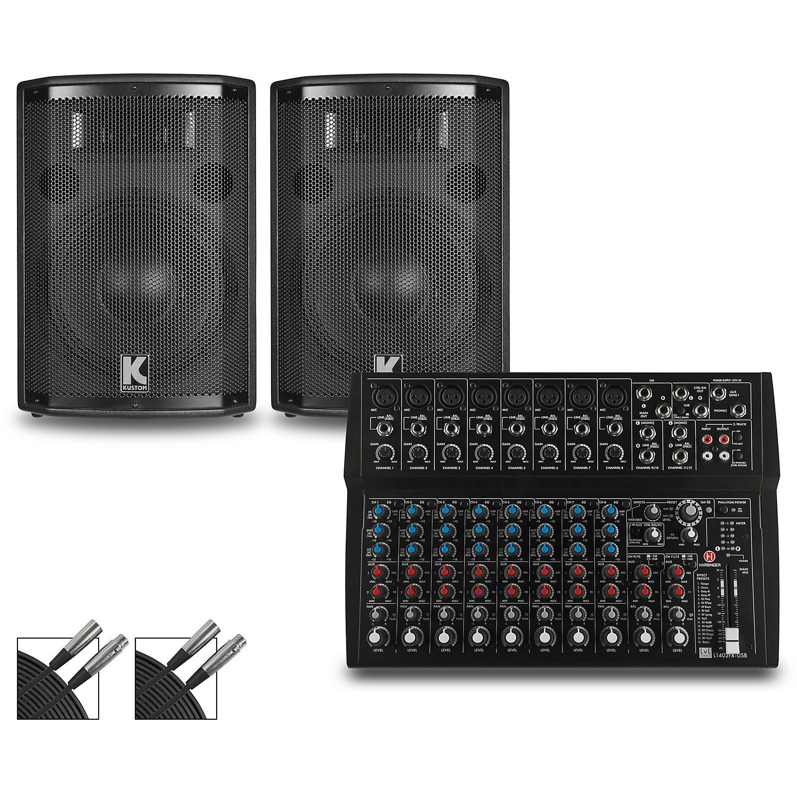 Harbinger L1402FX Mixer and Kustom HiPAC Speakers