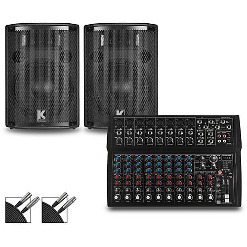 Harbinger L1402FX Mixer and Kustom HiPAC Speakers 12