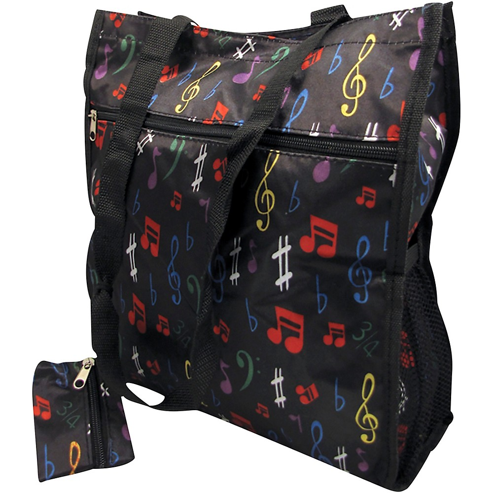 Aim Music Notes Satin Zip To Tote Bag With Change Purse - Black (L34833 49537) photo