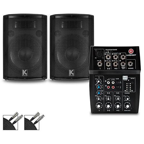 Harbinger L502 Mixer with Kustom HiPAC Speakers 12