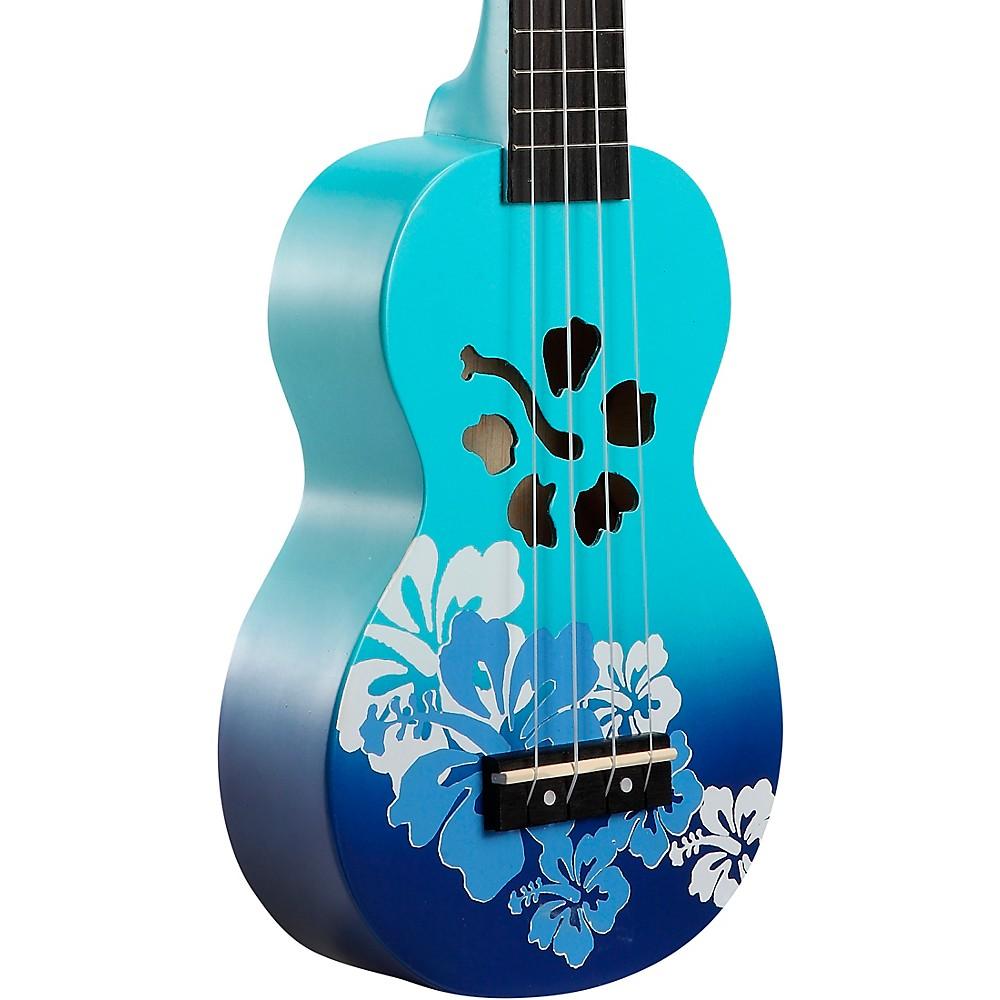 Mahalo Habiscus Flower Soprano Ukulele Blue