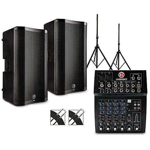 Harbinger L802 Mixer Package with VARI 4000 Series Speakers, Stands, and Cables 15