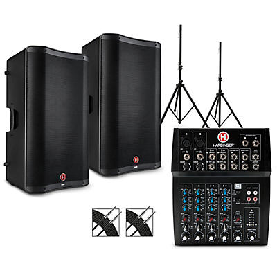 Harbinger L802 Mixer Package with VARI V2300 Series Speakers, Stands and Cables