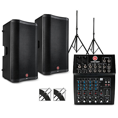 Harbinger L802 Mixer Package with VARI V2300 Series Speakers, Stands and Cables 15