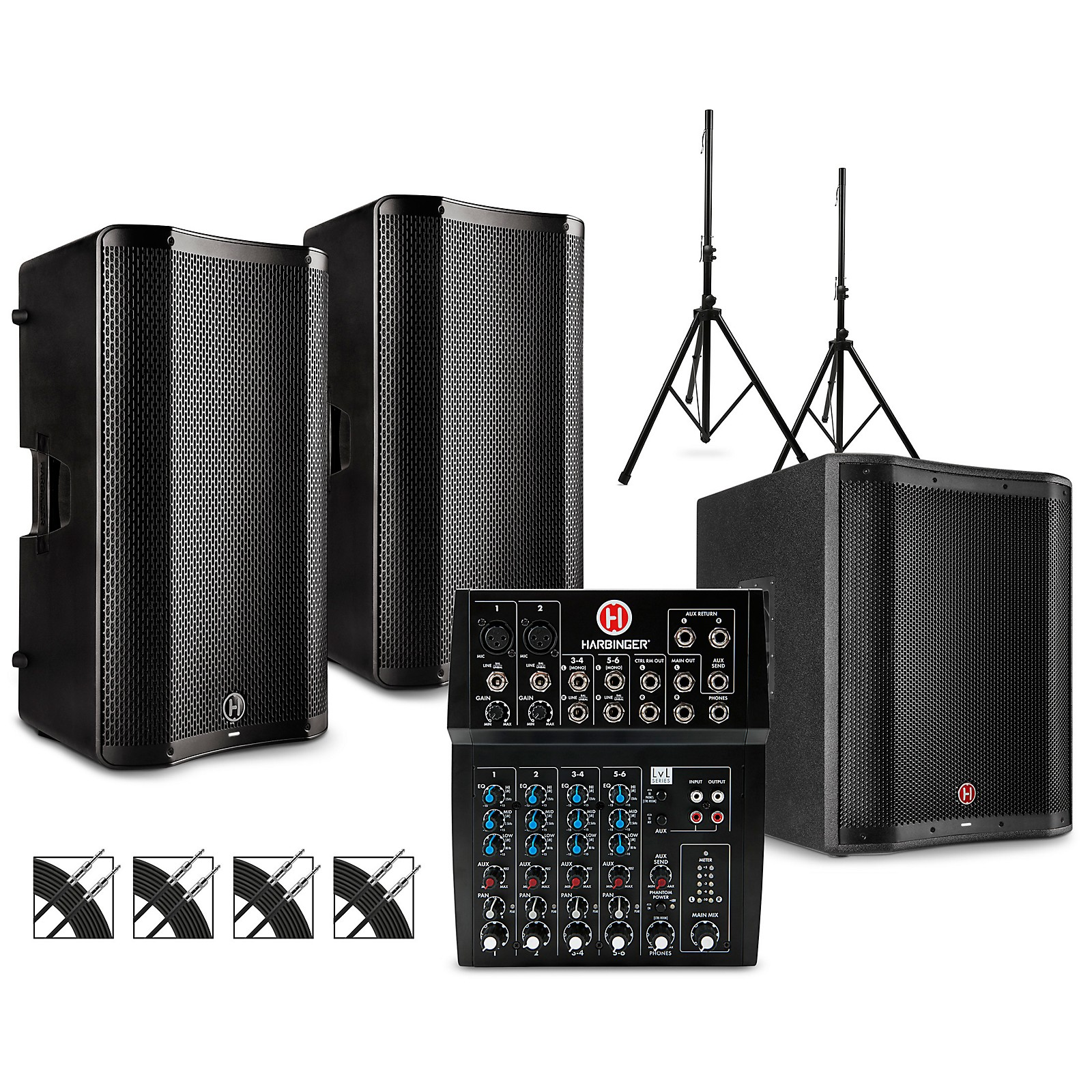 Harbinger L802 Mixer Package with VARI V4000 Series Speakers, V2318S Subwoofer, Stands and Cables